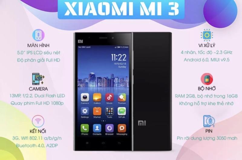 Điện thoại Xiaomi Mi3 Máy 2 sim  Chính Hãng - Cấu Hình Mạnh - Chơi Pubg - Liên Quân Mượt