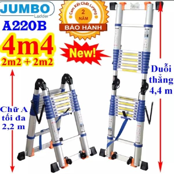 Thang nhôm rút đôi Jumbo A220B NEW 2020 - Chữ A 2,2m duỗi thẳng 4,4m Đai xanh - tải trọng 300kg dễ dàng xếp gọn. An toàn – Tiện lợi – Tiết kiệm , tải trọng 300kg, bảo hành 2 năm,đổi trả 7 ngày