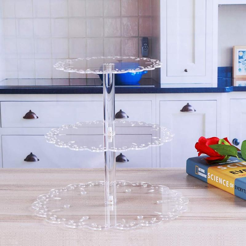 3 Tier Clear Cup Cake Stand Acrylic Cupcake Stand Supplies Display Tower Wedding Birthday Party Decoration
