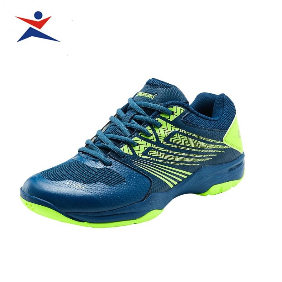 Giày cầu lông nam nữ Kawasaki K163 màu xanh-đỏ, đế kếp,chống lật cổ chân-giày thể thao nam nữ-giày đánh bóng chuyền