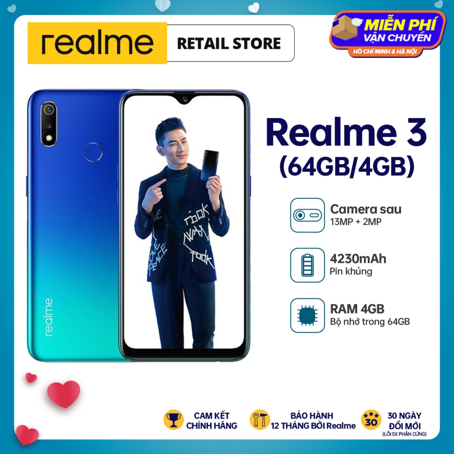 BẢO HÀNH 12 THÁNG Điện Thoại Realme 3 (4GB/64GB) - Camera sau kép 13MP+2MP Camera trước 13MP Pin 4230mAh 2...