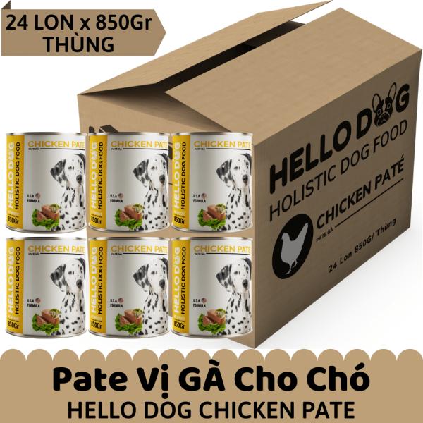 Pate Tươi Cho Chó Mọi Lứa Tuổi Vị Gà - Hello Dog Chicken Pate ( Thùng 24 Lon x 850G )