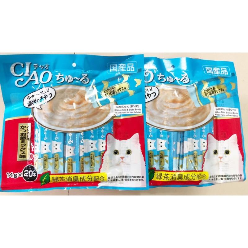 [COMBO] 5 Gói sốt kem Ciao Churu Thanh Sốt Thưởng- Chicken Fillet & Sliced Bonito