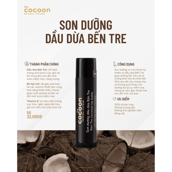Son dưỡng môi cocoon dầu dừa Bến tre, giảm thâm, làm mền môi
