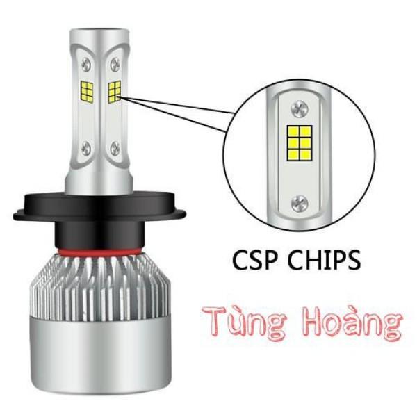 Đèn pha led S2 chip led CSP chân h4 - led c6 3 tim chip csp - s2csp- giá 1 bóng