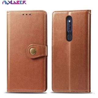 Maxlaber Case For OPPO F11 Pro PU Leather Solid Color Round Button Design Wrist Strap Slot Flip Kickstand Protective Wallet Case thumbnail