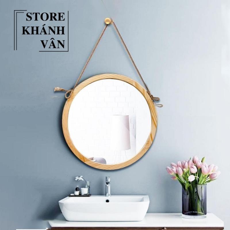 Gương Tròn Treo Tường Khung Gỗ Tự Nhiên Cao Cấp D50 - Gương tròn cao cấp D50 - Gương tròn khung gỗ tự nhiên D50 - Gương tròn trang trí treo tường D50 - sản phẩm có kèm vít treo tường - Gương tròn D50 - Khánh Vân Store