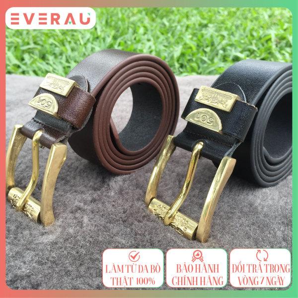 Thắt lưng da bò nam đầu làm bằng đồng đúc nguyên khối cao cấp, bảo hành chính hãng EVERAU 12 tháng