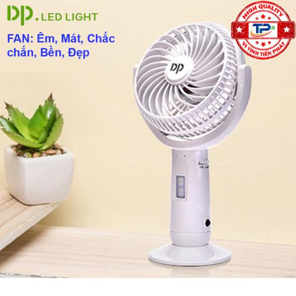 Quạt sạc tích điện DP DP-7606 tích hợp đèn LED chiếu sáng - cầm tay hoặc để bàn