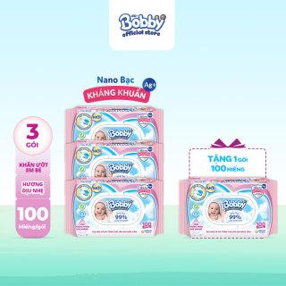 [Tặng thêm 1 gói cùng loại] Bộ 3 gói Khăn giấy ướt trẻ em Bobby Care Nano Bạc Kháng Khuẩn MÙI HƯƠNG DỊU NHẸ gói 100 miếng - Giới hạn 5 sản phẩm khách hàng thumbnail