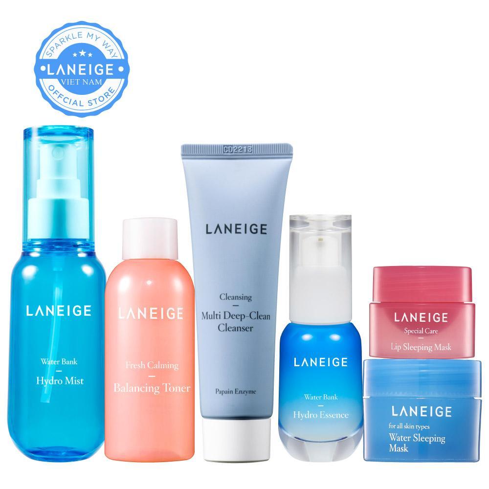 Bộ làm sạch và dưỡng ẩm chuyên sâu dành cho da hỗn hợp và nhờn dầu Laneige Water Bank Hydro Essence 30ML nhập khẩu