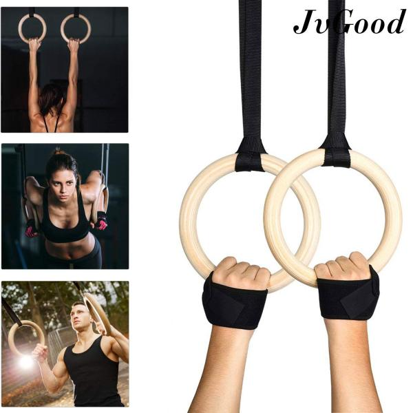 Bảng giá JvGood Wood Gymnastic Rings Olympic Rings 1pair Premium Heavy Duty Cross Training Wood Gymnastics Fitness Exercise Rings for Your Home Gym Exercise Rings Workout, Crossfit and Strength Training Ring Pull Up, Dips, Muscle Up, Ring Row