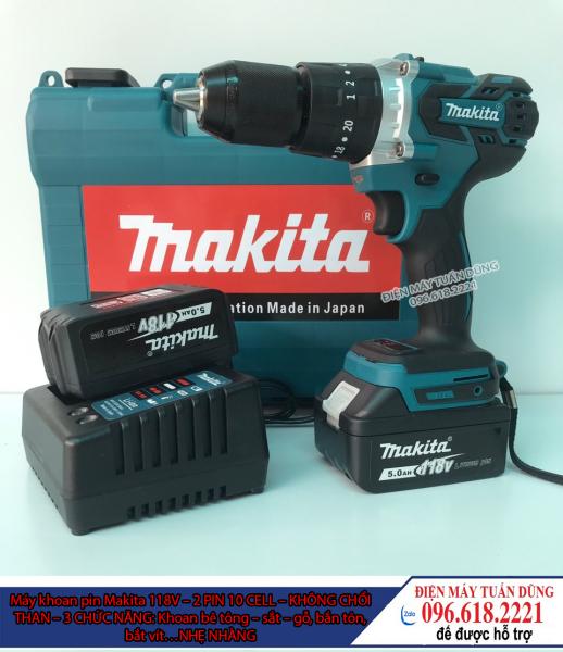 Máy khoan cầm tay pin Makita 118V Động cơ Không Chổi Than Siêu mạnh mẽ và bền bỉ Kèm 2 Pin