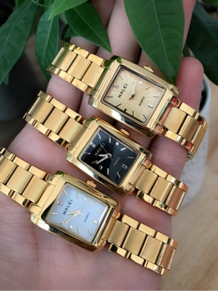 Đồng hồ nữ Halei mặt vuông dây kim loại chống nước chống xước bán chạy
