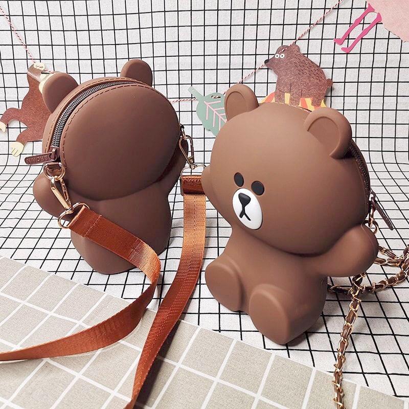 Coupon Ưu Đãi Túi Đeo Chéo Silicon Hình Gấu Brown Bear Cỡ Lớn Kèm 2 Dây Đeo Chéo