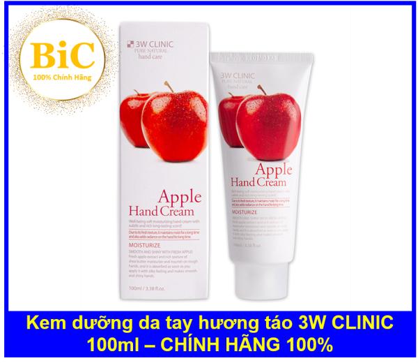 Kem dưỡng da tay hương táo 3W CLINIC Moisturizing Apple Hand Cream 100ml nhập khẩu
