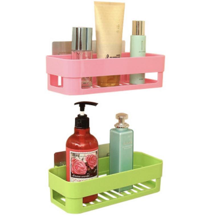 [HCM]Kệ nhựa treo tường nhà tắm nhà bếp dán tường chịu lực chất liệu nhựa ABS và PVC bền đẹp nhiều màu chọn lựa