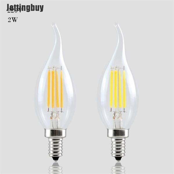 Jettingbuy Bóng Đèn E14 Có Thể Điều Chỉnh Độ Sáng 2W 4W 6W Edison Dây Tóc Retro Đèn Nến 220V 240lm White-2W