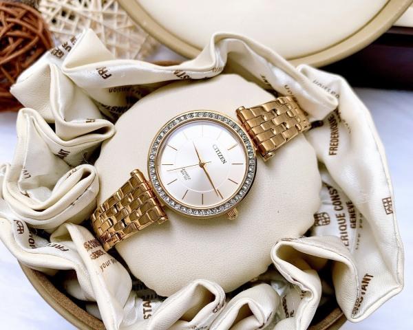 Đồng hồ Nữ Citizen Quartz ER0213-57L Vàng hồng,Size 30mm,Mặt xanh,Viền đính hạt-Máy Pin-Dây kim loại vàng hồng cao cấp