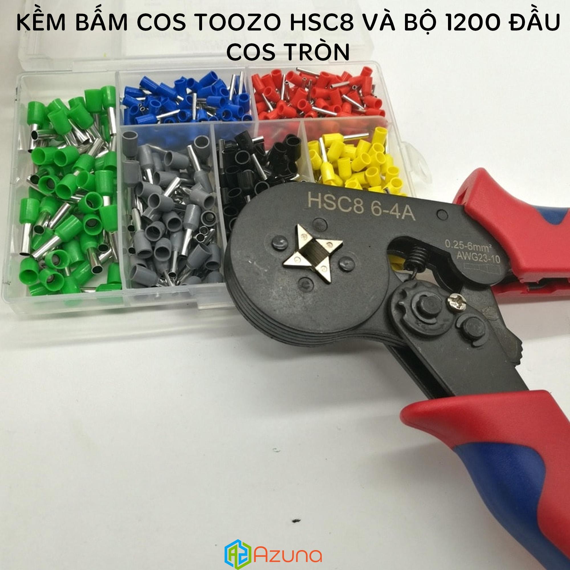 Set kềm bấm cos TOOZO HSC8 và bộ 1200 cos tròn (Kìm bấm cốt và 1200 cốt)