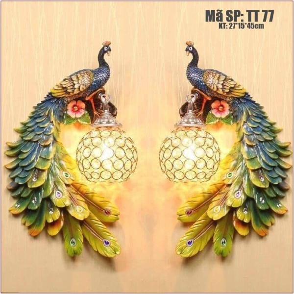Bảng giá Cặp đèn treo tường trang trí hình chim công TT77