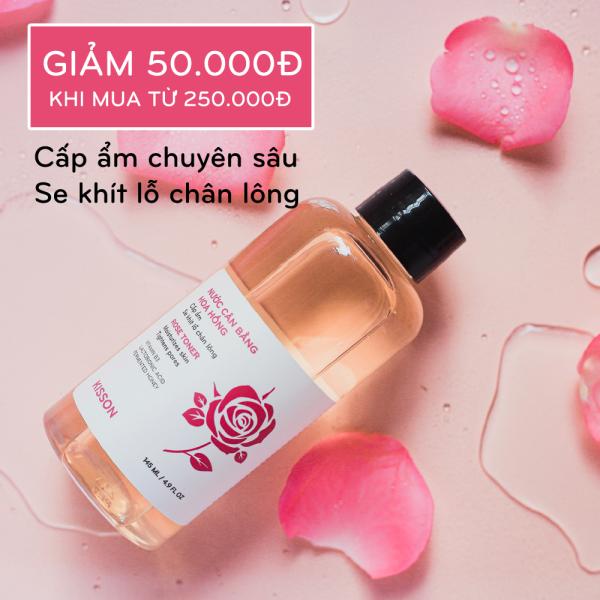 Nước cân bằng hoa hồng làm mềm da, dưỡng ẩm sâu và se khít lỗ chân lông KISSON 145ml nhập khẩu