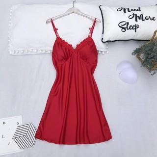 HISEXY Đầm Ngủ, Váy Ngủ 2 Dây, Đồ Ngủ Mặc Nhà Lụa Satin Cao Cấp Mặc Nhà Có Mút Ngực Đủ Size Dưới 85Kg MD28 thumbnail