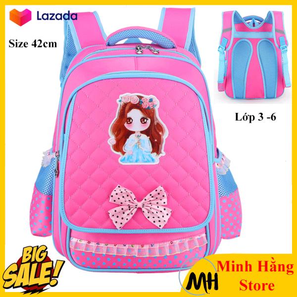 [SIZE 42- dành cho bé lớp 3 đến lớp 6] Balo đi học cho bé gái cấp 1 dễ thương hình công chúa, cô gái, cặp sách chống thấm nước cho trẻ tiểu học