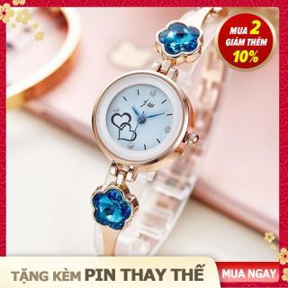 [ShorNo s shop] Đồng hồ nữ JW kiểu dáng thời trang, dây kim loại, đính đá hình hoa mai xanh biếc, kiểu lắc tay nhỏ nhắn, màu gold silver thumbnail