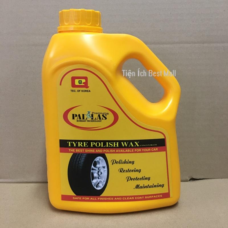 PALLAS Tyre polish wax 1.5L. Dung dịch đánh bóng lốp xe, Wax đánh bóng vỏ xe (lốp xe), bảo dưỡng các loại bánh xe ô tô, xe hơi, xe tải, xe khách P-1501