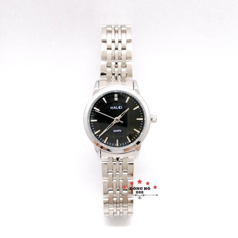 Đồng hồ nữ HALEI dây kim loại thời thượng ( HL552 dây trắng mặt đen ) - TẶNG 1 vòng tỳ hưu phong thuỷ