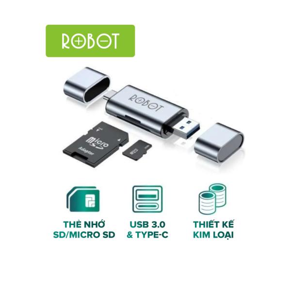 Bảng giá Thiết Bị Đọc Thẻ Nhớ SD/ MicroSD ROBOT CR202 - 2 Cổng Type-C Và USB 3.0 l HÀNG CHÍNH HÃNG Phong Vũ
