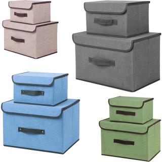 Combo 2 tủ vải lanh đựng đồ (1 lớn 1 nhỏ) , bộ 2 cái thùng vải lanh không dệt , hộp vải đựng đồ 2 mảnh (giao mẫu ngẫu nhiên ) hộp có nắp, chống bụi , khung cứng có tay xách, đựng đồ đa năng tiện dụng , hộp vải oxford thumbnail