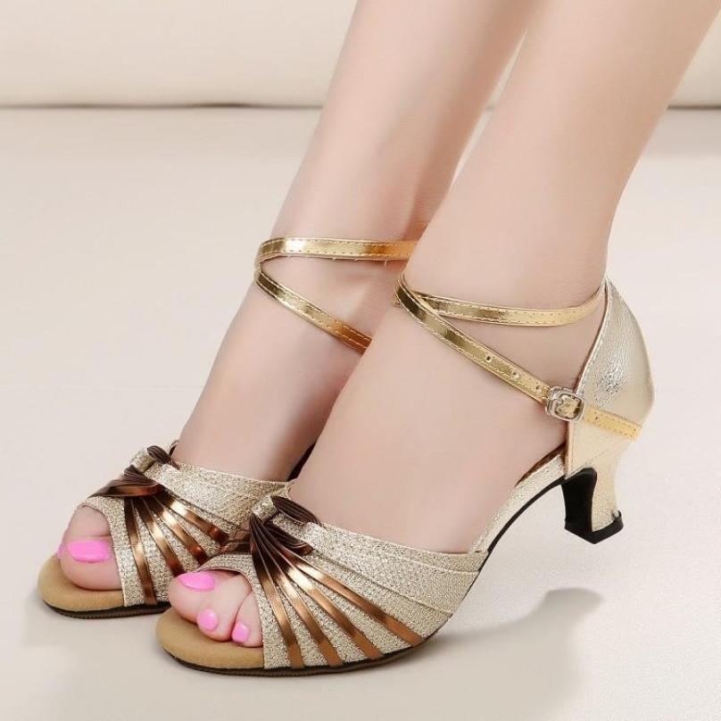 Giày cao gót hở mũi dự tiệc cực xinh-Màu Vàng Ánh Kim - Màu Đen-5cm giá rẻ