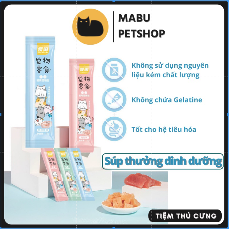 Thức ăn cho mèo súp thưởng SHIZUKA bổ sung dinh dưỡng 15gr 3 vị chất lượng giá rẻ