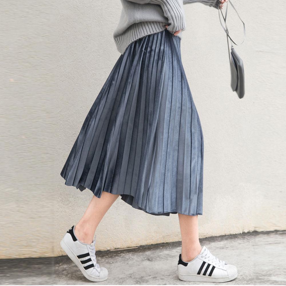 Mùa Xuân Nữ Váy Da Lộn Dài Nhung Xếp Ly Chân Váy Nữ Hè Thời Trang Midi Faldas Vintage Nữ Váy Midi Bán giỏi nhất