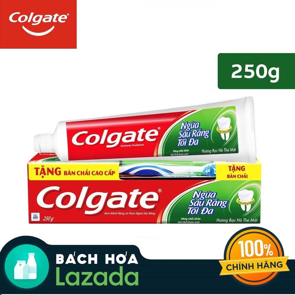 Kem đánh răng Colgate ngừa sâu răng tối đa 250g + Tặng bàn chải đánh răng Colgate Triple Action