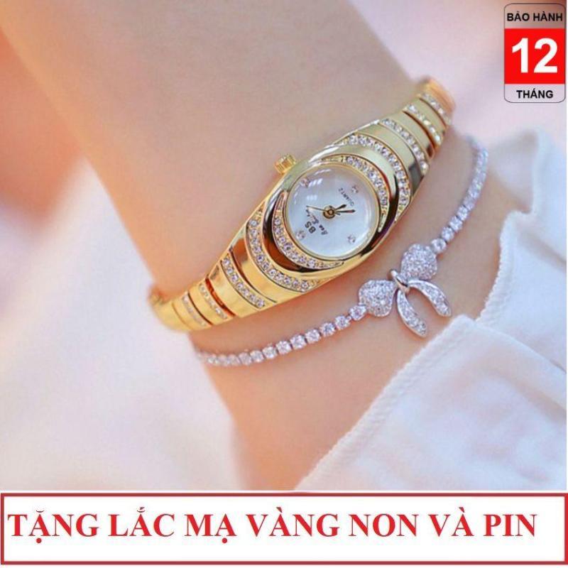 Nơi bán [Tặng lắc mạ vàng non] Đồng hồ nữ Bee Sister FA 1540 dạng lắc tay xinh xắn, dây thép không rỉ đính đá sang trọng, mặt kính tráng sapphira , đồng hồ thời trang nữ, đồng hồ thời trang hàn quốc, đồng hồ đẹp