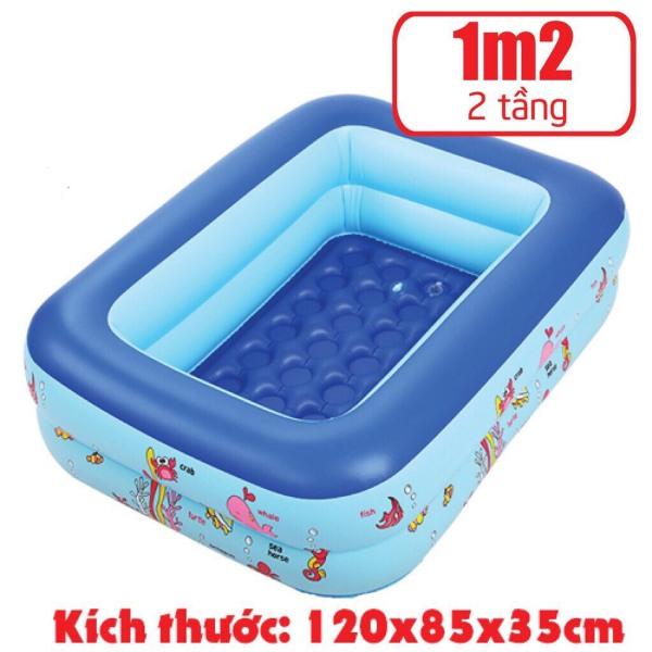 [HCM][Tặng 50 Bóng nước] Bể phao 1m20 loại dày 2 tầng tặng kèm miếng vá - bể bơi cho bé - Chọn mua kèm bơm điện khi đặt hàng