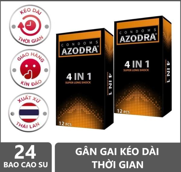 [Chính hãng] Combo 2 hộp Bao cao su gân gai kéo dài thời gian AZODRA hộp 12 chiếc