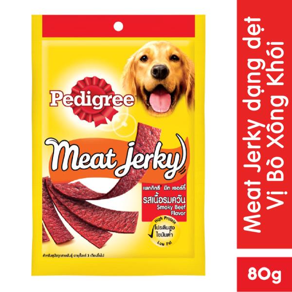 Thức ăn vặt cho chó Pedigree Meat Jerky vị bò xông khói 80g