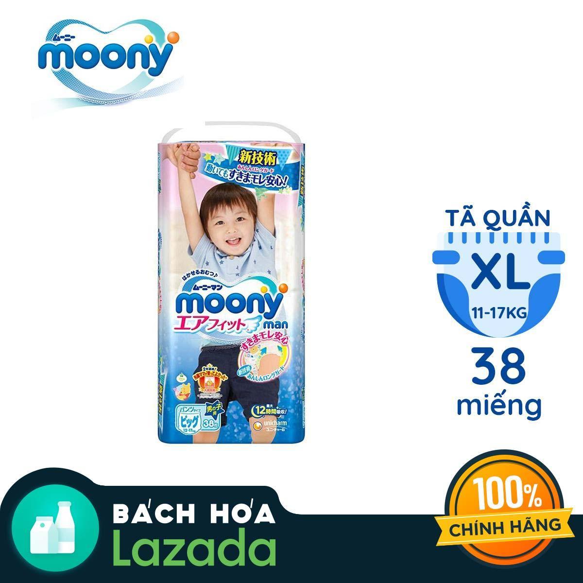 Tã Quần Moony Size XL38 Dành Cho Bé Trai (12 - 17kg) Cùng Giá Khuyến Mãi Hot