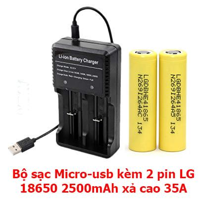 Bộ sạc nhanh pin 18650 kèm 2 pin LG 2500mAh sạc 3.7V xả cao 35A