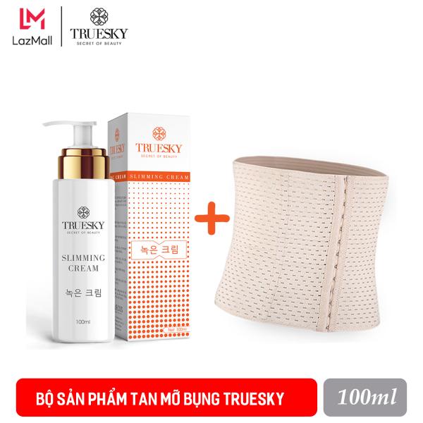 Bộ sản phẩm tan mỡ bụng Truesky gồm (1 kem tan mỡ bụng quế gừng 100ml & 1 đai nịch bụng quấn nóng cao cấp) giá rẻ