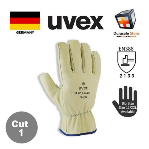 GĂNG TAY DA BÒ cho thợ Hàn UVEX 60291 CHỐNG ĐÂM XUYÊN, CHỐNG MÀI MÒN MÀU BEIGE SIZE 10/XL (UVEX 60291 TOP Grade 8400 Full Grain Leather Glove Beige 27cm Safety Gloves)