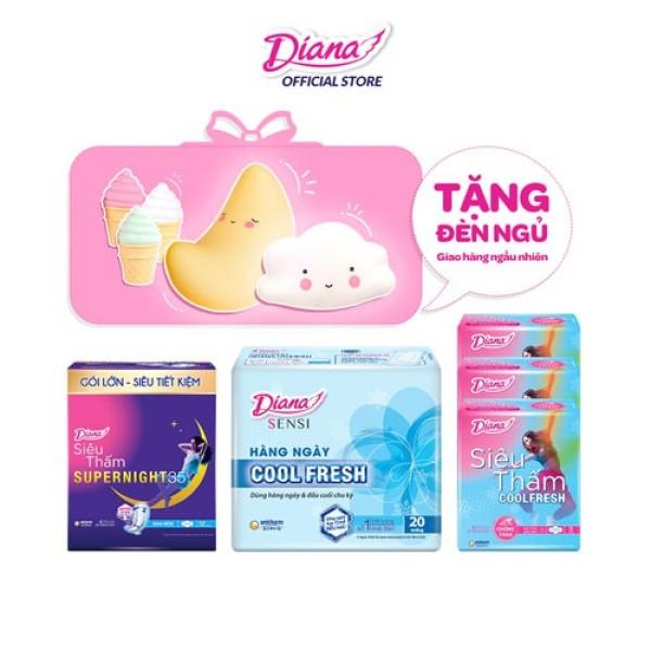 [Tặng 1 đèn ngủ silicon cao cấp - Giao ngẫu nhiên] Combo Diana Super Night 35cm + 3 Siêu thấm Cool Fresh + Sensi Cool hàng ngày tốt nhất