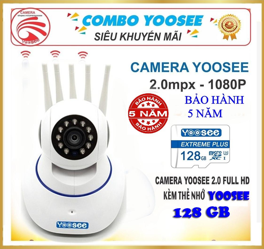 (TẶNG THẺ NHỚ YOOSEE 128GB XỊN, BẢO HÀNH 5 NĂM)Camera ip wifi Yoosee 5 râu xoay 360 độ Camera Yoosee TRONG NHÀ-NGOÀI TRỜI SIÊU SẮC NÉT 2.0 Mpx Full HD 1920X1080p Cảnh báo  quan sát ngày đêm ghi âm ghi hình đàm thoại