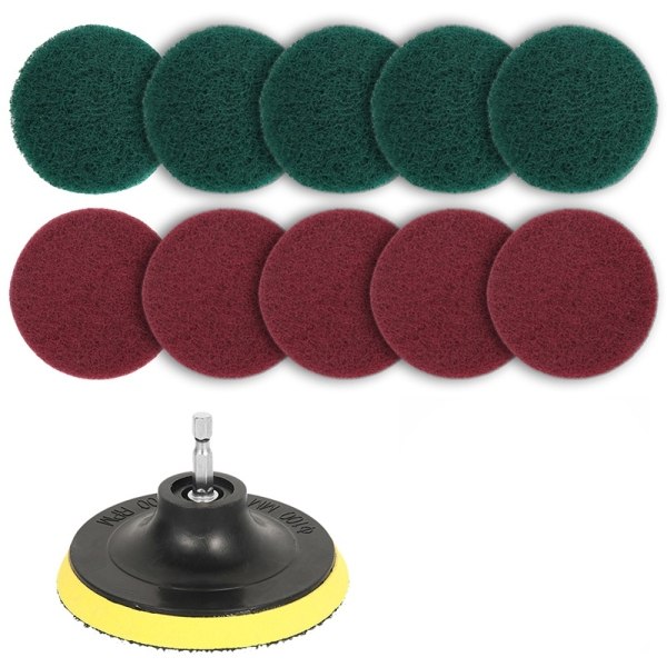 11Pcs Power Scrubber Brush Set Polishing Pad for Drill Powered Brush Tile Scrubber Scouring Pads Cleaning Tool