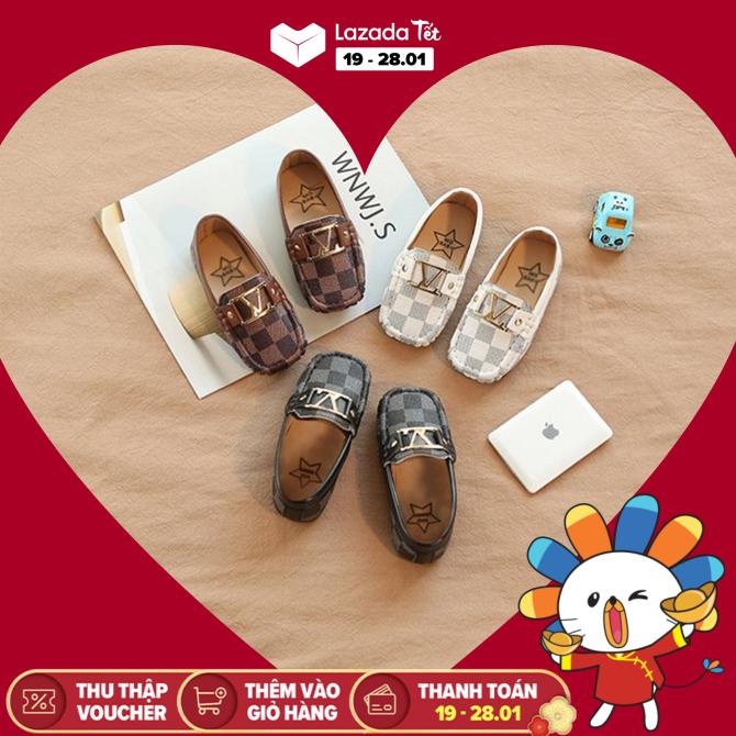 Giày Mọi Caro Phong Cách Cho Bé Trai Từ 1 Đến 5 Tuổi (Trắng, Đen, Nâu) giá rẻ