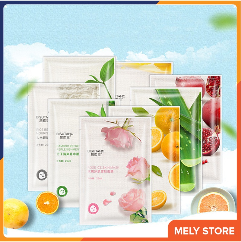 Combo 5 mặt nạ giấy dưỡng da Bisutang vị trái cây dưỡng trắng da - Mặt nạ dưỡng da mặt nạ giấy dưỡng ẩm mặt nạ se khít lỗ chân lông SPU058 cao cấp
